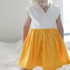 Simple Constrast A-Line Dress for Toddler & Girls