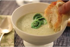 Cream of Fiddlehead Soup -The Wilderness Wife- www.wildernesswife.com  #recipe #soup #fiddlehead