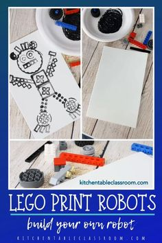 Use Lego's and this simple printmaking technique to build your own robot! #robotcraft #printmaking forkids #legocraft Lego Disney, Lego Activities, Craft Activities For Kids, Preschool Crafts, Steam Activities, Winter Crafts For Kids, Art For Kids, Lego Cars, Lego Robot