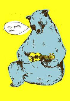 a bear playing ukulele