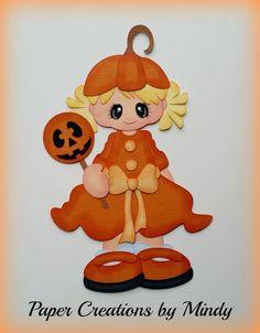 Craftecafe Mindy Halloween Costume girl premade paper piecing scrapbook page