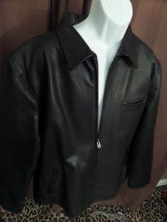 RALPH LAUREN Polo Sport Mens Black Leather Wool Lined Jacket Coat 2XL XXL HOT