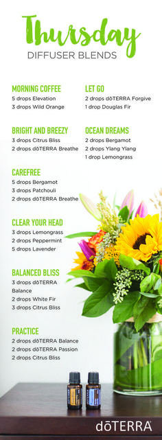 doTERRA essential oil diffuser blends for Thursdays!!   doTERRA essential oils