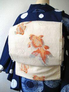 ☆流水に金魚柄絽アンティーク名古屋帯 着物 大正ロマン 夏帯_コーディネート例です。                                                                                                                                                                                 もっと見る