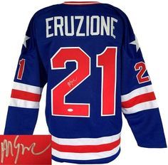 810b07dc2 Mike Eruzione Signed 1980 USA Hockey Miracle On Ice Blue Custom Jersey JSA  ITP