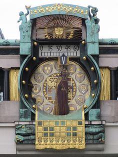 Andrea Prince - Wien 1 Bezirk the art of historic places at the old center of Vienna BauernmarktHoher Markt the clock Ankeruhr Hans Puchsbaum Monuments, Austria, Cool Clocks, Unusual Clocks, Vienna Secession, Antique Clocks, My Favorite Image, Big Ben, Art Nouveau