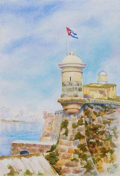 """Cuba: Through the Lens and Brush Show """"Castillo del Morro 13 x19 inch watercolor"""