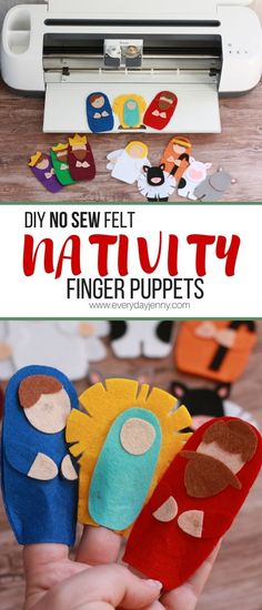 Use your Cricut Maker to make these no sew felt Nativity finger puppets. - Use your Cricut Maker to make these no sew felt Nativity finger puppets. Link to the Design Space f - Felt Crafts Kids, Felt Kids, Felt Crafts Patterns, Crafts For Kids To Make, Christmas Crafts For Kids, Doll Patterns, Animal Patterns, Felt Puppets, Puppets For Kids