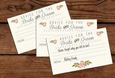 Bride & Groom Advice Cards // Printable // by RememberNovemberShop, $4.00