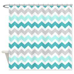 grey shower curtains patterns | ... > Aqua Bathroom Décor > Blue Grey Chevron Pattern Shower Curtain