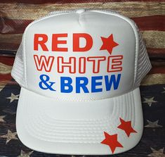 8fa5671d076ed5 Red White and Brew Trucker Hat, 4th of July Hat, Independence Day Hat, USA  flag hat trucker hat custom made USA flag hat
