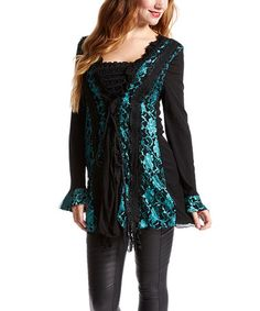 Look at this #zulilyfind! Aqua & Black Corset Linen-Blend Tunic #zulilyfinds
