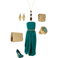 Green Dress, created by egastonhere on Polyvore