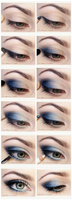 16 Graduation Makeup Tutorials You Can Wear with Confidence, 16 Commencement Make-up Tutorials You Can Put on with Confidence Do Blue Smokey Eyes Blue Makeup Looks, Blue Eye Makeup, Smokey Eye Makeup, Makeup Eyeshadow, Silver Eyeshadow, Navy Blue Eyeshadow, Smokey Eyeshadow, Eyeshadow Palette, Contour Makeup