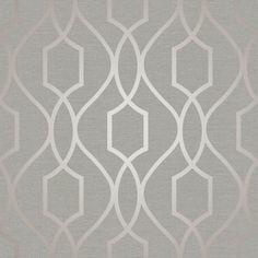 Fine Decor Apex Trellis Wallpaper in taupe and grey FD41997