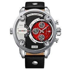 Alienwork DualTime Quarzuhr Armbanduhr Multi Zeitzonen Uhr XXL Oversized Leder rot schwarz OS.WH-3301-5 - http://autowerkzeugekaufen.de/alienwork/alienwork-dualtime-quarzuhr-armbanduhr-multi-os