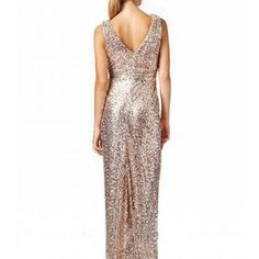 Rose Gold Sequin Long Mermaid Bridesmaid Dresses V Neck Sexy Wedding Party Gown Cheap Prom Evening Formal Dresses
