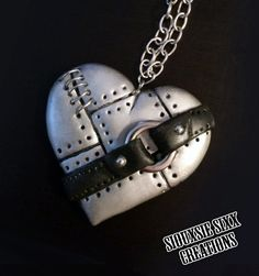 Steampunk Metal Silver Heart with Belt by SiouxsieSixxCreation, €12.00