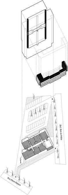 8/ BOIS LE PRETRE 5  Raymonf Lopez / 1961 Tecteam / 1990 Frédéric Druot / Lacaton & Vassal / 2011  La qualité structurelle des bâtiments construits par Raymond Lopez permet la mise en oeuvre d'opérations exemplaires d'amélioration de l'habitat, comme l'illustre la transformation de la tour Bois-le-Prêtre. Cette tour haute de 50 mètres constitue aujourd'hui le contrepoint vertical de l'opération de la rue Pierre-Rebière.