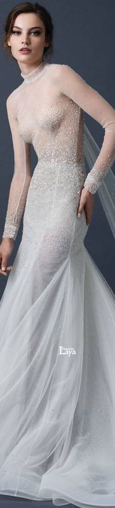 33 ideas for bridal beauty editorial fall 2015 Bridal Gowns, Wedding Gowns, Gowns With Sleeves, Bridal Beauty, Designer Gowns, Beautiful Gowns, Dream Dress, Couture Fashion, Paolo Sebastian