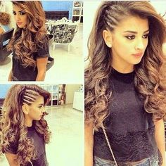 Twist (cornrows look alike) side with the rest of the hair curled. lily wants this hairdo. Hairstyles For Round Faces, Pretty Hairstyles, Wedding Hairstyles, Latest Hairstyles, Edgy Hairstyles, Evening Hairstyles, Side Braid Hairstyles, Summer Hairstyles, Hairstyles With Curled Hair