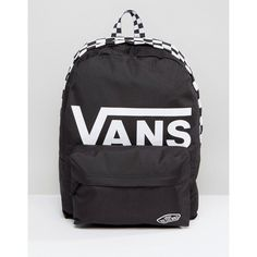 Vans Realm Logo Backpack In Black (£41) ❤ liked on Polyvore featuring bags 7c321d221ca