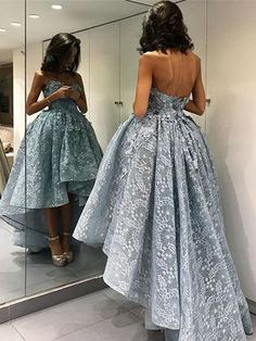 Fashion Prom Dress,Sweetheart Prom Gowns,Sleeveless Prom Dress,High Low Prom Dresses,Grey Lace Prom Dresses with Appliques,Prom Dresses,Prom Gowns