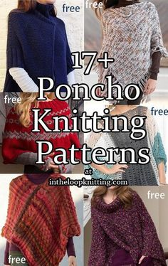 Most patterns are free - These stylish modern ponchos are quicker and easier ways to add a warm layer to your wardrobe for use year-round. Many are just one or two knit pieces seamed together. Great for gifts! Poncho Knitting Patterns, Shawl Patterns, Crochet Poncho, Knit Or Crochet, Knitting Stitches, Free Knitting, Free Knit Poncho Pattern, Crochet Vests, Knitting Machine Patterns