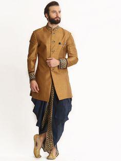 Shop Dhoti style indo western in khaki silk fabric online from India. Wedding Dresses Men Indian, Indian Wedding Couple, Wedding Dress Men, Wedding Suits, Wedding Attire, Sherwani Groom, Mens Sherwani, Wedding Sherwani, Groom Outfit