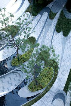 CRCC Huanhua Pedigree by TK Studio – mooool Landscape Plaza, Landscape Stairs, Landscape And Urbanism, Landscape Elements, Landscape Design Plans, Landscape Architecture Design, Landscape Model, Urban Landscape, Contemporary Landscape