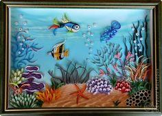 Картина, панно Квиллинг: На дне морском. Квиллинг. Бумажные полосы. Фото 1