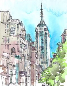 New York Art Print in watercolor, Empire State, architectural sketch in blue, green and grey - 8x10 print.