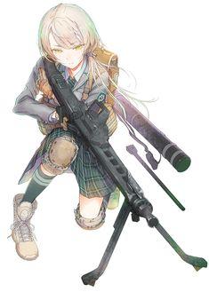 Anime girl with gun Cool Anime Girl, Anime Art Girl, Manga Girl, Anime Girls, Anime Military, Military Girl, Anime Warrior, Warrior Girl, Fantasy Comics