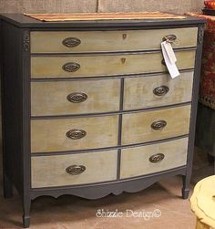 CeCe Caldwell Vermont Slate Bowfront Dresser w Cinco Bayou Moss and Smoky Mountain front dry brushing Shizzle Design Grand Rapids Michigan  ...