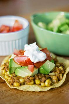 Little Chicken Charlie: Spicy lentil tostadas - vegetarian recipe ideas - easy vegetarian meals - vegetarian tostadas