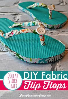 """DIY Fabric Flip Flops (No Sewing Required)--- This DIY Flip Flops tutorial is SO easy. No sewing required! It does take a little time and patience. You can totally make this on the cheap. (I have under $2 in these.) This is one of my """"dollar store crafts"""", because I made this DIY with items I found at my local Dollar Tree. This is a great craft for preteens and teens. #DIY #flipflops #crafts"""