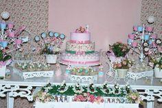 Festa tema Jardim de Flores Rosa e Azul: