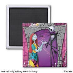 Jack Skellington y Sally que llevan a cabo las manos Imán Cuadrado, home decor, decoración #gifts