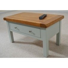 Camborne Sea Green Painted Oak Coffee Table with Storage