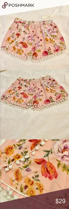 Flowy Floral and Pom Shorts Absolutely adorable shorts!! So flowy and comfy, while looking so cute!! Never worn, still with tags!! Shorts