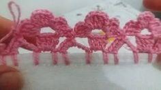 Waldineia Santos shared a video Crochet Boarders, Crochet Edging Patterns, Crochet Lace Edging, Crochet Squares, Crochet Designs, Crochet Doilies, Crochet Flowers, Picot Crochet, Crochet Waffle Stitch