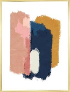 Abstract Wall Art Blush Pink, Navy Blue and Mustard Yellow Abstract Brushstroke Art Printable. Rose Pink Navy Blue and Mustard Bedroom, Mustard Yellow Bedrooms, Mustard Yellow Walls, Blue And Mustard Living Room, Pink Abstract, Abstract Wall Art, Navy Blue Walls, Room Color Schemes, Pink Room