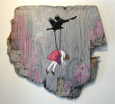 Charline Giffard.... painting on old wood