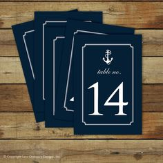 Nautical table numbers  nautical wedding table numbers  navy