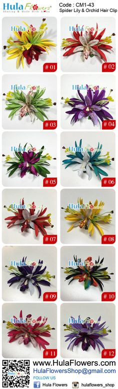Tropical Hawaii Flowers Hair Clip by HULA FLOWERS ************Sharing And Made with Aloha************ This Flower Hair Clip is made of : Silk Double Spider Lily x 2 pcs Silk Dendrobium Orchid x 2 pcs Silk Fern Leaves All man made fiber materials Built on a Black Alligator Metal Clip :