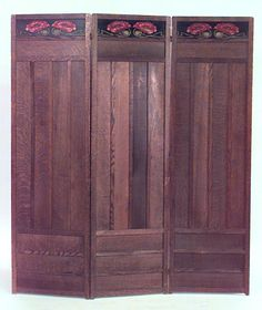 """Arts & Crafts Three-Panel Screen. Quartersawn Oak with Floral Painted/Stained Top Panel. England. Circa 1900. 68"""" x 59-1/2""""."""