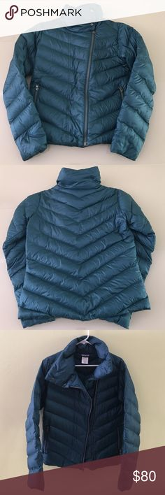 PATAGONIA   Women's Prow Jacket PATAGONIA WOMEN'S PROW JACKET In excellent condition but minor spots on the front (pic4)hardly noticeable Soft, 100% Recycled nylon plain-weave shell with a DWR finish Motorcycle-style jacket with chevron quilt lines and off-center front zipper Tall, snapped collar stands up or lies flat Zippered handwarmer pockets 600 fill-power duck down  Hip length. 🚫No trades 😊Thank you Patagonia Jackets & Coats Puffers