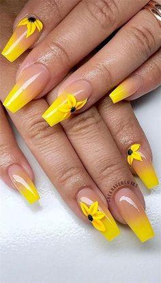 Cute Acrylic Nail Designs, Best Acrylic Nails, Nail Art Designs, Stiletto Nail Designs, Colored Acrylic Nails, Yellow Nails Design, Yellow Nail Art, Pastel Yellow, Bright Yellow