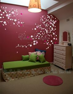 Tree wall decal baby girl Nature Tree Wall mural Nursery wall decal children- Cherry blossoms tree with Butterfly Home arts on Etsy, $112.15 CAD
