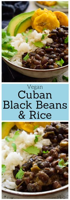 Cuban Black Beans and Rice Cuban black beans and rice is a simple vegan recipe that's full of flavor and cheap to make. Dry beans are simmered until tender before adding a tasty spiced sofrito, vinegar and sugar for a delicious sweet and sour note. Vegetarian Recipes Dinner, Vegan Dinners, Vegan Recipes Easy, Veggie Recipes, Whole Food Recipes, Vegan Soul Food Recipes, Plant Based Dinner Recipes, Vegan Recipes Plant Based, Simple Vegetarian Meals